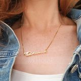 Custom 18k Gold Plated Silver Signature Name Necklace - Birthday Gifts Mother's Day Gifts (288211273)