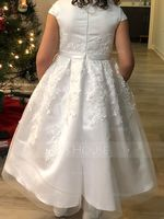 Knee-length Flower Girl Dress - Satin Lace Sleeveless Scoop Neck (269213956)