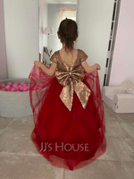 A-Line Asymmetrical Flower Girl Dress - Tulle/Sequined Sleeveless Scoop Neck With Bow(s) (010220918)