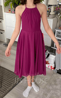A-Line Scoop Neck Asymmetrical Chiffon Junior Bridesmaid Dress With Ruffle (009208593)