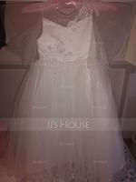 Ball-Gown/Princess Ankle-length Flower Girl Dress - Satin/Tulle/Lace Short Sleeves Scoop Neck With V Back (010220944)
