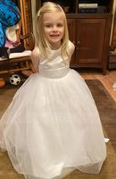 Ball Gown Floor-length Flower Girl Dress - Tulle Sleeveless Scoop Neck With Flower(s) (010093758)