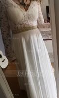 V-neck Court Train Chiffon Wedding Dress With Beading (265203777)