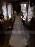 V-neck Court Train Tulle Lace Wedding Dress With Beading Sequins (265236106)