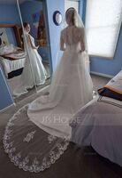 One-tier Lace Applique Edge Chapel Bridal Veils With Lace (006227448)