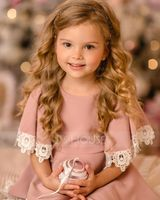A-Line Knee-length Flower Girl Dress - Satin/Lace Short Sleeves Scoop Neck (010195347)