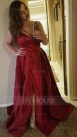 V-Neck Sleeveless Burgundy Maxi Dresses (293250300)
