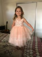 Ball-Gown/Princess Knee-length Flower Girl Dress - Tulle Lace Sleeveless Scoop Neck With Lace Beading (269251786)