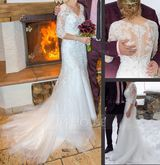 Trumpet/Mermaid V-neck Court Train Tulle Lace Wedding Dress With Beading Sequins (002134547)