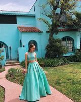 Ball-Gown/Princess Scoop Neck Sweep Train Satin Prom Dresses With Lace Sequins (018175921)