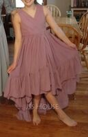 A-Line V-neck Asymmetrical Chiffon Junior Bridesmaid Dress With Bow(s) Cascading Ruffles (009217822)