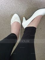 Women's Lace Leatherette Stiletto Heel Closed Toe Pumps With Imitation Pearl Applique (047132798)