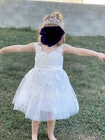 A-Line Knee-length Flower Girl Dress - Satin/Tulle/Lace Sleeveless Scoop Neck With Appliques/V Back (010144171)