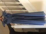 A-Line Scoop Neck Floor-Length Chiffon Lace Junior Bridesmaid Dress With Bow(s) (009208611)