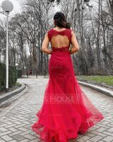 Trumpet/Mermaid Scoop Neck Sweep Train Tulle Prom Dresses (018147843)