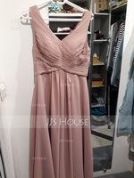 A-Line V-neck Floor-Length Chiffon Evening Dress With Ruffle (017234459)