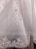 V-neck Knee-Length Tulle Wedding Dress With Lace Beading Appliques Lace Sequins (265235238)