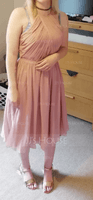 Scoop Neck Knee-Length Chiffon Bridesmaid Dress With Ruffle (266204481)