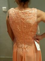 A-Line Scoop Neck Ankle-Length Chiffon Lace Mother of the Bride Dress (008225551)