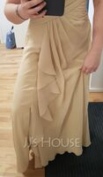 A-Line V-neck Floor-Length Chiffon Lace Mother of the Bride Dress With Split Front Cascading Ruffles (008114251)