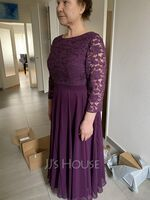 A-Line Scoop Neck Tea-Length Chiffon Lace Mother of the Bride Dress With Sequins (008252060)