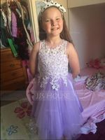 A-Line Tea-length Flower Girl Dress - Tulle/Lace Sleeveless Scoop Neck (010172370)