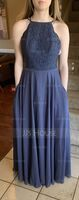 Scoop Neck Floor-Length Chiffon Lace Bridesmaid Dress With Pockets (266230622)