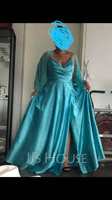 A-Line V-neck Floor-Length Satin Prom Dresses With Ruffle Split Front (272261377)