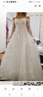 Ball-Gown/Princess Off-the-Shoulder Sweep Train Tulle Lace Wedding Dress With Lace (002250156)