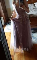 A-Line V-neck Floor-Length Tulle Prom Dresses With Lace (018220231)