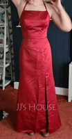 Sheath/Column Square Neckline Floor-Length Satin Evening Dress With Split Front (271235846)