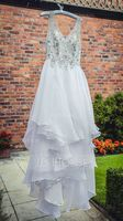 Ball-Gown V-neck Court Train Organza Wedding Dress With Beading Sequins (002107846)