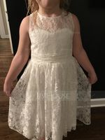 A-Line Tea-length Flower Girl Dress - Lace Sleeveless Scoop Neck With Pleated (010091191)