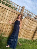 Trumpet/Mermaid Square Neckline Sweep Train Tulle Prom Dresses With Lace Sequins (018220239)
