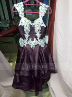 A-Line Sweetheart Asymmetrical Satin Prom Dresses With Lace Beading Cascading Ruffles (018192831)