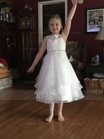 Tea-length Flower Girl Dress - Organza Lace Sleeveless Scoop Neck (269215159)