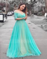A-Line/Princess Scoop Neck Floor-Length Tulle Prom Dresses With Beading (018163108)
