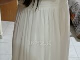 A-Line Scoop Neck Floor-Length Chiffon Lace Wedding Dress With Split Front (002234881)