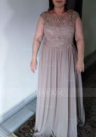 A-Line Scoop Neck Floor-Length Chiffon Lace Mother of the Bride Dress (008164062)