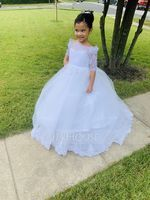 Floor-length Flower Girl Dress - Tulle Lace Long Sleeves Bateau With Appliques (269202671)
