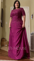 A-Line Scoop Neck Floor-Length Chiffon Lace Mother of the Bride Dress (267252998)