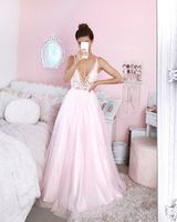 A-Line V-neck Floor-Length Tulle Evening Dress With Beading Sequins (017208778)