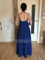 A-Line V-neck Floor-Length Chiffon Bridesmaid Dress With Ruffle Pockets (266217454)