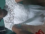 A-Line High Neck Floor-Length Chiffon Lace Wedding Dress (002215649)