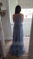 A-Line Scoop Neck Sweep Train Chiffon Lace Bridesmaid Dress With Ruffle Bow(s) (266250762)