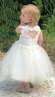 Knee-length Flower Girl Dress - Tulle Lace Sleeveless Scoop Neck With Lace (269193718)