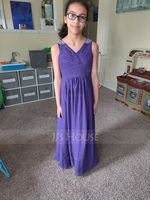 V-neck Floor-Length Chiffon Junior Bridesmaid Dress With Ruffle Beading Sequins (268205384)