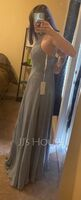 A-Line Scoop Neck Floor-Length Bridesmaid Dress (007251599)