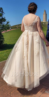 A-Line V-neck Asymmetrical Tulle Lace Wedding Dress With Bow(s) (002153456)