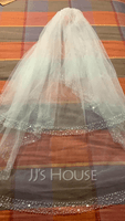 Two-tier Fingertip Bridal Veils With Beaded Edge (006035767)